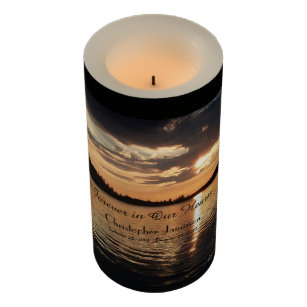 Custom Memorial Candle Golden Sunset at Lake