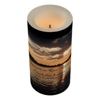 Custom Memorial Candle Golden Sunset at Lake