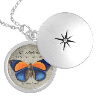 Custom Memorial Vintage Butterfly Pendant Jewelry