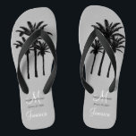 "Custom Mens Beach Wedding Flip Flops<br><div class=""desc"">A great welcome gift for your male guests. Provide footwear for your guests for the beach ceremony. Elke Clarke &#169; Custom Monogram Travel Wedding Flip Flops for Beach Weddings. Customize with your names, date, monogram, married last name initial and destination. Matches the personalized wedding beach tote bag in our store...</div>"
