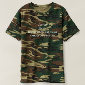Custom Mens Green Woodland Camo Camouflage T-Shirt