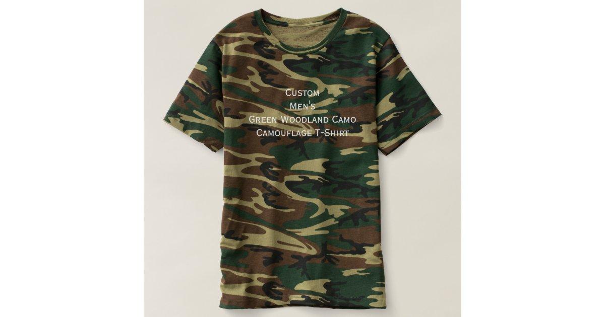 Custom Mens Green Woodland Camo Camouflage T Shirt Zazzle