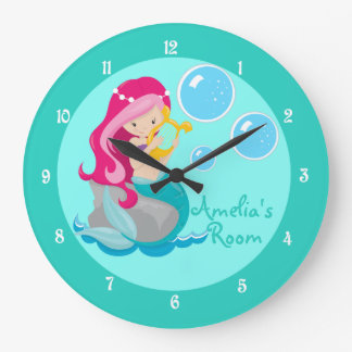 Custom Mermaid Girl Teal Large Clock