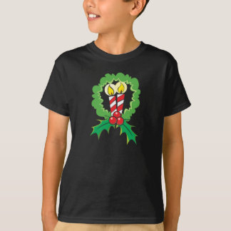 Custom Merry Christmas Candle Wreath Children Kids T-Shirt