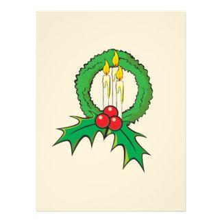 Custom Merry Christmas Candle Wreath Invitations