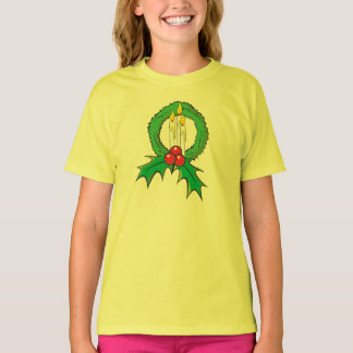 Custom Merry Christmas Candle Wreath Kids Shirts