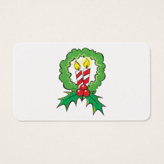 Custom Merry Christmas Candle Wreath Mouse Pads Business Card