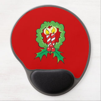 Custom Merry Christmas Candle Wreath Mouse Pads Gel Mouse Mat