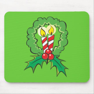 Custom Merry Christmas Candle Wreath Mouse Pads