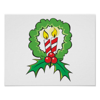 Custom Merry Christmas Candle Wreath Mouse Pads Poster