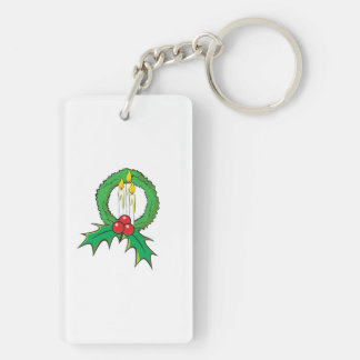 Custom Merry Christmas Candle Wreath Sticker Bags Double-Sided Rectangular Acrylic Keychain