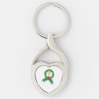 Custom Merry Christmas Candle Wreath Sticker Bags Silver-Colored Heart-Shaped Metal Keychain