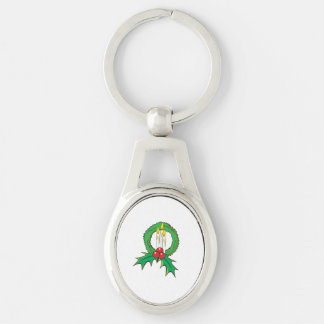 Custom Merry Christmas Candle Wreath Sticker Bags Silver-Colored Oval Metal Keychain