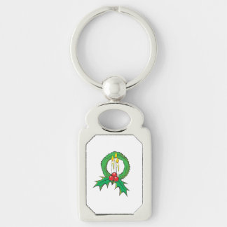 Custom Merry Christmas Candle Wreath Sticker Bags Silver-Colored Rectangular Metal Keychain