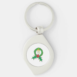 Custom Merry Christmas Candle Wreath Sticker Bags Silver-Colored Swirl Metal Keychain