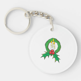 Custom Merry Christmas Candle Wreath Sticker Bags Single-Sided Round Acrylic Keychain