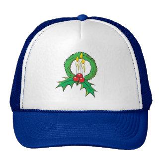 Custom Merry Christmas Candle Wreath Sticker Bags Trucker Hat