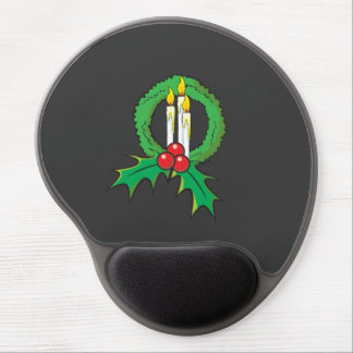 Custom Merry Christmas Candle Wreath Wrapper Mugs Gel Mouse Pad
