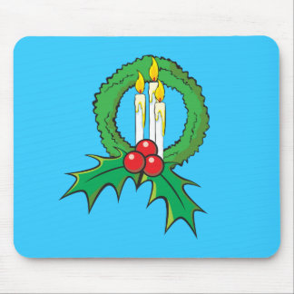 Custom Merry Christmas Candle Wreath Wrapper Mugs Mouse Pad