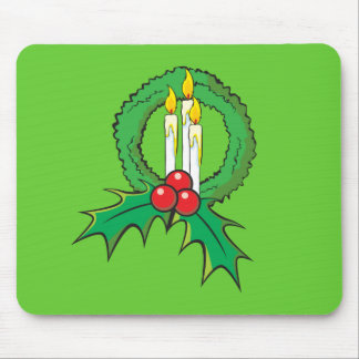 Custom Merry Christmas Candle Wreath Wrapper Mugs Mouse Pads