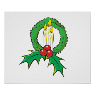 Custom Merry Christmas Candle Wreath Wrapper Mugs Posters