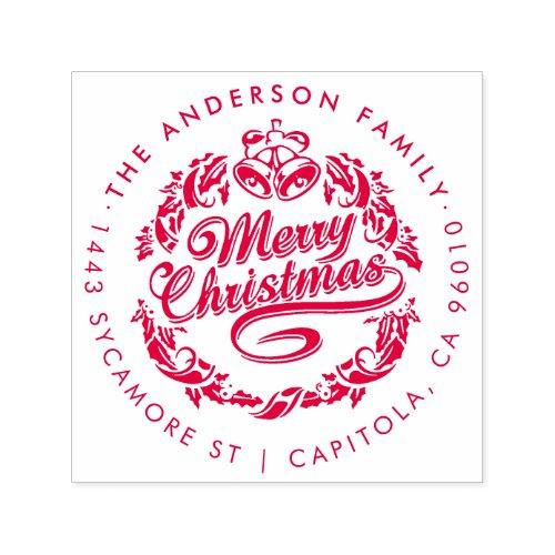 Custom Merry Christmas Family Name Return Address Self_inking Stamp
