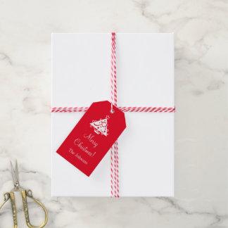 Custom Merry Christmas gift tags with xmas tree