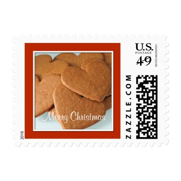 Aztec Themed Custom Merry Christmas Gingerbread Hearts Postage