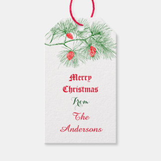 Custom Merry Christmas Holiday Green Pine Gift Tag Pack Of Gift Tags