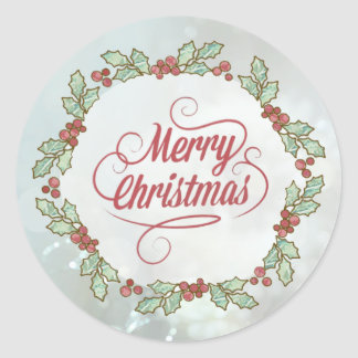Custom Merry Christmas Holly Wreath Stickers