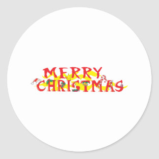 Custom Merry Christmas Invitations Stamps Labels Classic Round Sticker