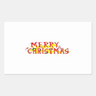 Custom Merry Christmas Invitations Stamps Labels Rectangular Sticker
