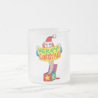 Custom Merry Christmas Jack in a Box Button Pin Frosted Glass Coffee Mug