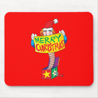Custom Merry Christmas Jack in a Box Wind Up Cards Mouse Pad