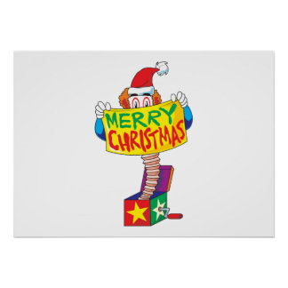 Custom Merry Christmas Jack in a Box Wind Up Cards Posters