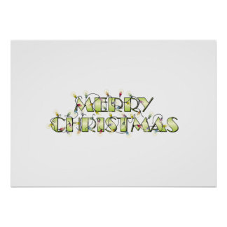 Custom Merry Christmas Lights Greeting Cards Folio Posters