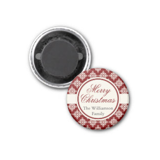 Custom Merry Christmas magnet Burgundy snowflakes