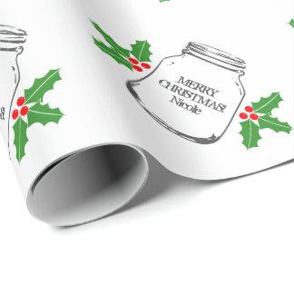 Custom Merry Christmas mason jar wrapping paper