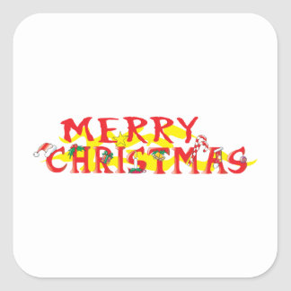 Custom Merry Christmas Mugs Buttons Hats Watches Square Sticker
