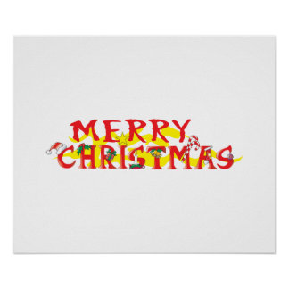 Custom Merry Christmas Poker Chips Gift Wrappers Posters