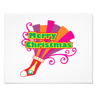 Custom Merry Christmas Red Stocking Button Cards Art Photo