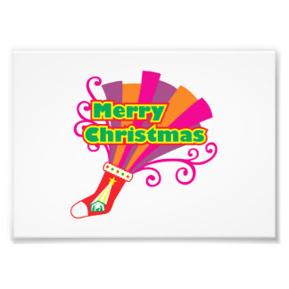 Custom Merry Christmas Red Stocking Button Cards Photographic Print