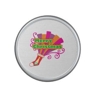 Custom Merry Christmas Red Stocking Button Cards Speaker