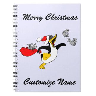 Custom Merry Christmas Santa Penguin And Fish Notebook