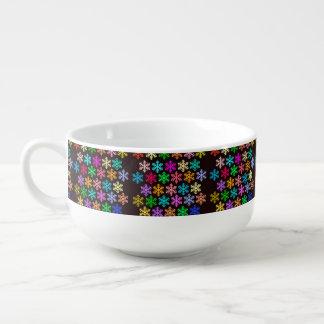 Custom Merry Christmas Snowflakes Soup Mug