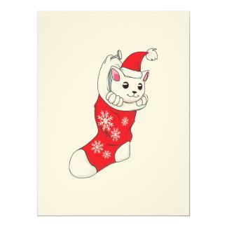 Custom Merry Christmas White Kitten Cat Red Sock Card
