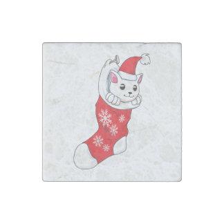 Custom Merry Christmas White Kitten Cat Red Sock Stone Magnet