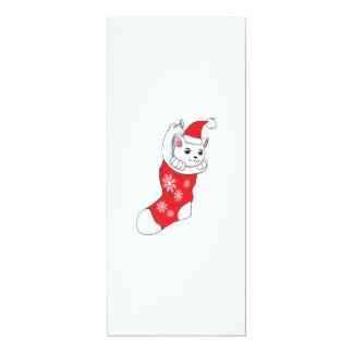 Custom Merry Christmas White Kitten Cat Red Sock 4x9.25 Paper Invitation Card