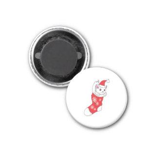 Custom Merry Christmas White Kitten Cat Red Sock Refrigerator Magnets