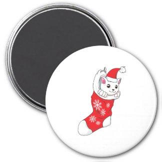 Custom Merry Christmas White Kitten Cat Red Sock Refrigerator Magnet